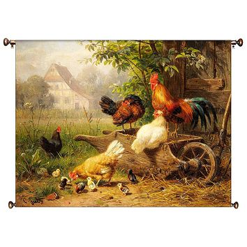 Chicken on Wheelbarrow Kitchen Picture on Canvas Hung on Copper Rod, Ready to Hang, Wall Art Décor