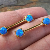Turquoise Blue Opal Gold Nipple Bar Jewelry Barbell