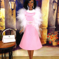 Barbie Doll Clothes - Pink Dress with White Polka Dots, Purse, Shoes, and Earrings