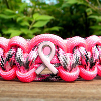 Breast Cancer Awareness Paracord Bracelet Neon Pink/Pretty in Pink Camo