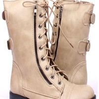 TAUPE FAUX LEATHER LACE UP MID-CALF COMBAT BOOTS