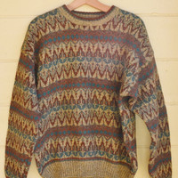 Vintage Mens pull over Wool Sweater Slouchy Sweater by Thornton Bay