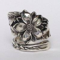 Vintage Columbine Flower Sterling Silver Spoon Ring