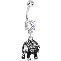 Clear Gem Black Mystic Elephant Dangle Belly Ring | Body Candy Body Jewelry