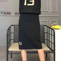 """""""FENDI""""Women Casual Fashion Letter Printing Long Sleeve Hooded  Long Skirt Two-Piece Casual Wear"""