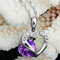 """Metal Heart Purple Crystal Necklace Pendant Chain 0.75x0.67"""" free shipping"""