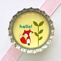 Hello Fox Bottle Cap Magnet - fox baby shower favor, baby shower ideas, fox decor, fox party favor, woodland baby shower, woodland party