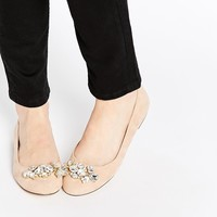 Oasis Embellished Flat Ballerina Shoes