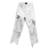 HARD CRUSHED DENIM PANTS -WHITE- - M.Y.O.B NYC ONLINE STORE