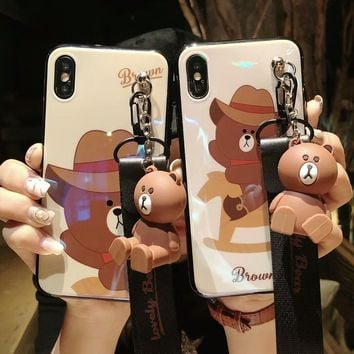Fashion Cute Cartoon Brown Bear Doll Case For iphone X 7 8 6 6S Plus Blue Ray Lanyard Cases Soft Silicon imd Phone Cover Fundas