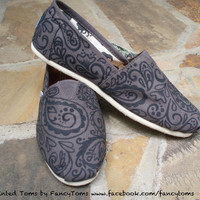 Handpainted Custom Toms Shoes - Large Paisley