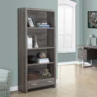 "Dark Taupe Reclaimed-Look 71""H Bookcase with a Drawer"