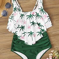 Palm Tree Ruched Bikini Swimsuit