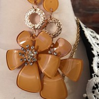 Big Autumn Marigold Goldenrod Yellow Colored Lucite Acrylic & Rhinestone Flower Power Dangle Earringso