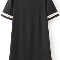 Black Short Sleeve Round Neckline Shift Dress with Lace Cut-Outs Trim