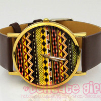 Personalized Tribal watch Art deco watch band Leather watch woman GIFT032