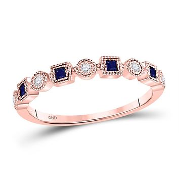 10k Rose Gold Princess Blue Sapphire Diamond Stackable Band Ring 1/8 Cttw