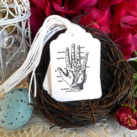 Palmistry Gift Tags Hang Tags Fortune Telling Occult Halloween Parties Mediums Palm Reading Black and White Set of Ten