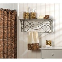 9 Piece Bathroom And Shower Curtain Set With Leopard Animal Print