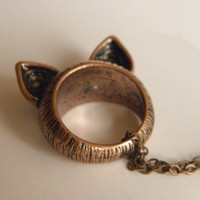 vintage red bronze cat ear ring necklace