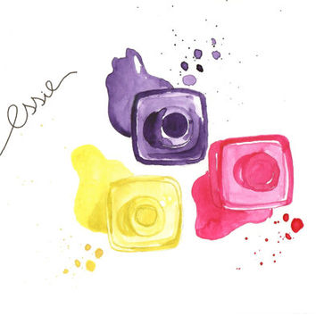 Essie nail polishes - Watercolor Make-Up illustration