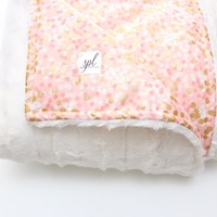 Gorgeous Metallic Gold and Cream Faux Fur Baby Blanket