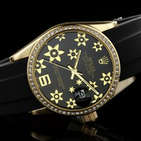 ROLEX men and women tide brand fashion quartz watch F-SBHY-WSL Gold Case + Black Dial + Gold Floral