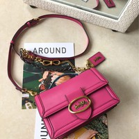 Kuyou Gb89815 Coach 2019 New Riley Top Handle Rose Red Crossbody Bag Horse And Carriage 74615 Size 13x18x8 Cm