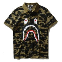 BAPE SHARK Camouflage pure cotton printed lapel T-shirt Tops