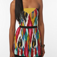 Silence & Noise Printed Strapless Dress