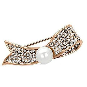 Vintage Brooches LO2800 Flash Rose Gold White Metal Brooches with Synthetic