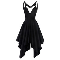 Women Gothic Asymmetrical Dress Sexy V-neck Backless Sleeveless Summer Travel Beach Party Sexy Slim Casual Goth Midi Dress
