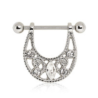 316L Surgical Steel Nipple Ring with Hanging  Crescent Shield