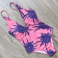 Floral Printed Bandage One Pieces Swimwear Monokini Backless Bodysuit