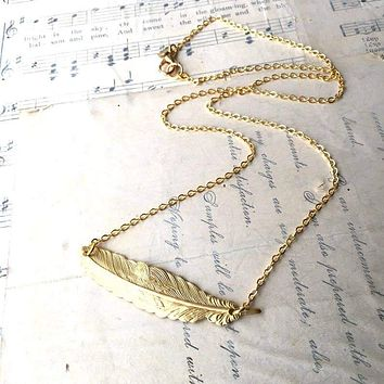 SALE  Handmade Golden Feather Necklace