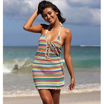 Rainbow Crochet Halter Dress Lace Up Front Handmade Boho Backless Beach Cover Multi Colors Striped Mini One Size