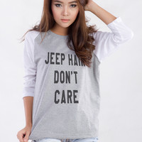 Jeep Hair dont Care Printed Raglan Tee Shirt
