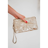 Liz CrossBody Clutch, Foil Tan