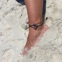 Peacock Black Pearl and Leather Anklet