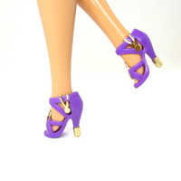 Barbie Doll Shoes - Purple Doll Shoes with Gold Metal Designs
