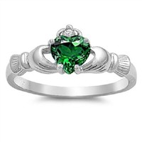 Claddagh Ring 925 Sterling Silver AAA Quality Emerald CZ Heart Promise Ring