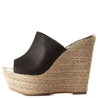 Open Toe Platform Wedge Mules by Charlotte Russe