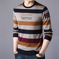 Sweater Men Streetwear Fashion Striped Pullover Men Knitwear Shirt Pull Homme Autumn Winter Cotton Sweaters