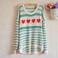 LOVE STRIPES HOLLOW THIN SWEATER PULLOVER
