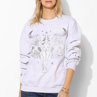 Skull Face Oversized Pullover Sweatshirt - Urban Outfitters