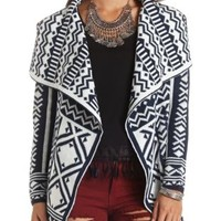 Geo Knit Cascade Cardigan Sweater by Charlotte Russe - Navy Combo