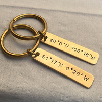 Coordinates Keychain,  Gold Coordinates key chain, couples keychain set, couples key ring, gold kerchain, personalized couples keychain Gift