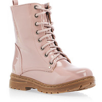 Patent Leather-Look Combat Boots - Rainbow