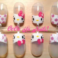 Cute Hello Kitty Polkadot French Nails