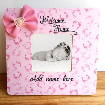 Pink Baby Feet frame, welcome home custom frame, baby shower gift